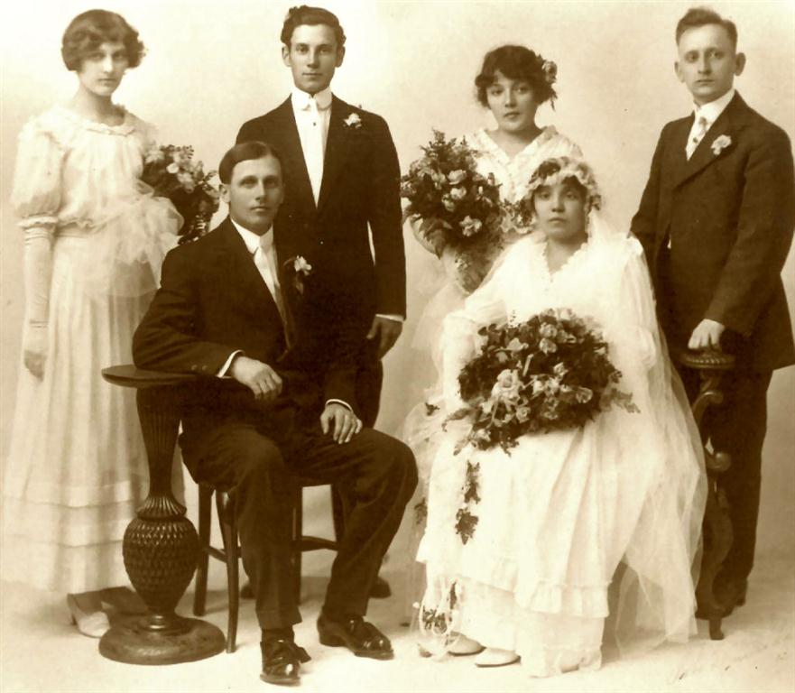 Mary Rusnak and Paul Eiben, 1915 Wedding photo of Paul Eiben and Mary Rusnak - Vince Antl and his wife are behind Paul Eiben Behind  Mary Rusnak  are her sister, Lottie, and Lottie`s husband.