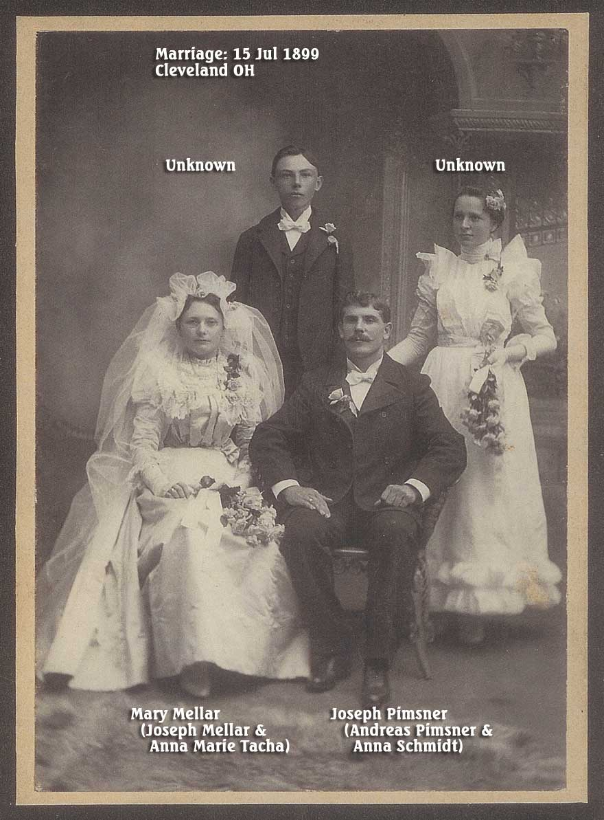 Pimsner (Mellar) Wedding of Joseph Pimsner and Mary Mellar - Jul 1899 - Cleveland OH