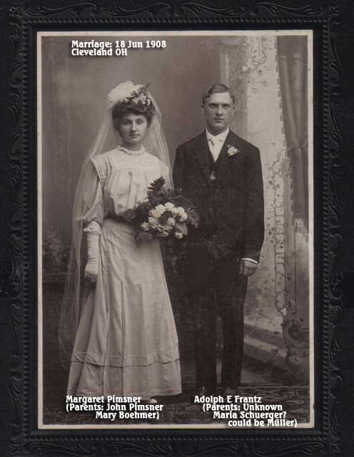 Pimsner (Frantz) Marriage of Margaret Pimsner and Adolph Frantz - Jun 1908 Cleveland OH